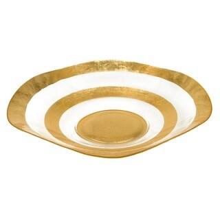 Gold Leaf 19-inch Glass Wave Bowl