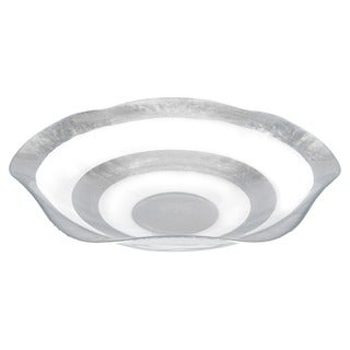 Silver Leaf 19-inch Glass Wave Bowl