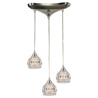Kersey Satin Nickel and Textured Glass Bulb 3-light Chandelier