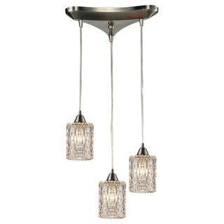 Kersey Satin Nickel and Textured Glass 3-light Chandelier