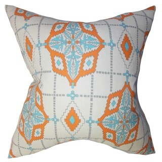 Huracan Geometric Blue Feather Filled 18-inch Throw Pillow