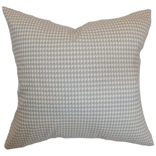 Lviv Houndstooth Powder Grey Feather Filled Throw Pillow