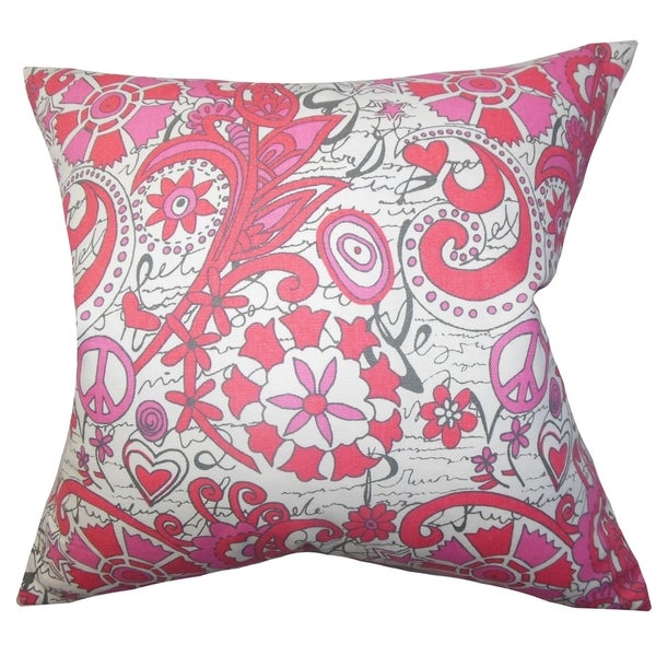 Adelpha Floral Pink Feather Filled 18-inch Throw Pillow