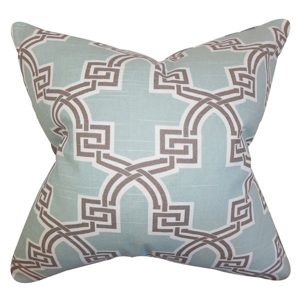 Letha Geometric Blue Feather Filled 18-inch Throw Pillow