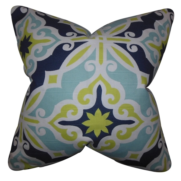 Adriel Geometric Green Blue Feather Filled 18-inch Throw Pillow