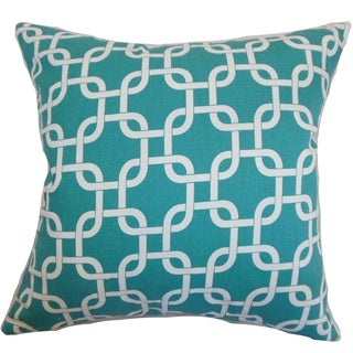 Qishn Geometric Turquoise Feather Filled Throw Pillow