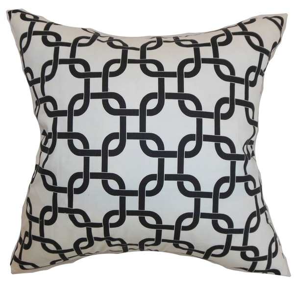 Qishn Geometric White Black Twill Feather Filled Throw Pillow