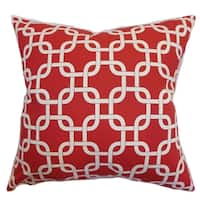 Qishn Geometric Lipstick Natural Feather Filled Throw Pillow