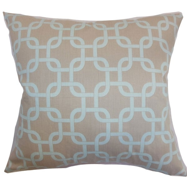 Qishn Geometric Powder Blue Feather Filled Throw Pillow