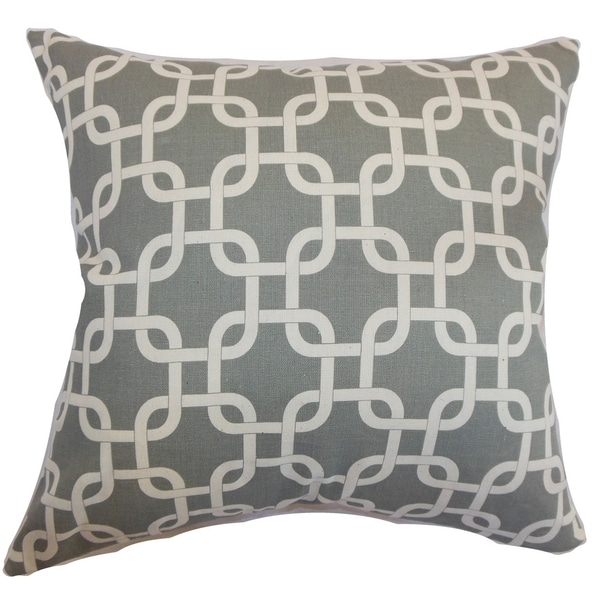 Qishn Geometric Summerland Grey Feather Filled Throw Pillow