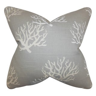 Hafwen Coastal Gray Feather Filled 18-inch Throw Pillow
