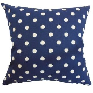 Rennice Ikat Dots Navy Natural Feather Filled Pillow