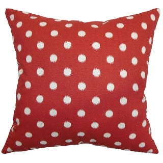 Rennice Ikat Dots Primary Red Natural Feather Filled 18-inch Throw Pillow