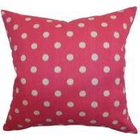 Rennice Ikat Dots Fuchsia Feather Filled Throw Pillow