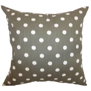 Rennice Ikat Dots Grapevine Brown Dossett Feather Filled Throw Pillow