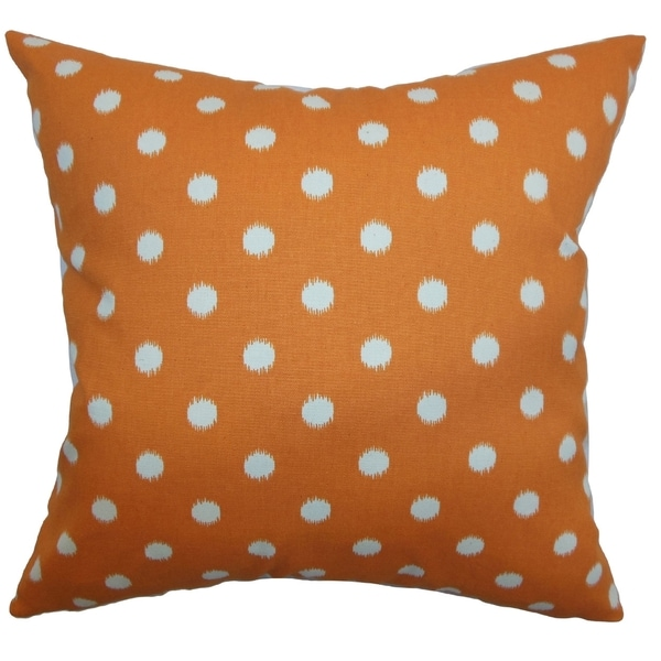Rennice Ikat Dots Gum Drop Orange Natural Feather Filled 18-inch Throw Pillow