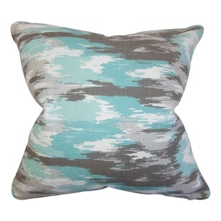 Ishi Ikat Blue Feather Filled Throw Pillow