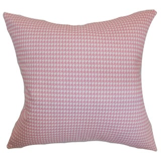Lviv Houndstooth Baby Pink Feather Filled Throw Pillow