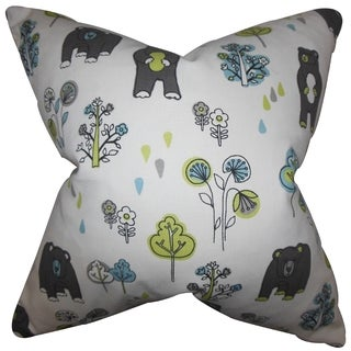 Madigan Floral White Feather Filled Throw Pillow