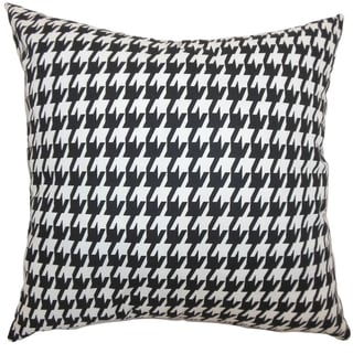 Ceres Houndstooth Black White Feather Filled 18-inch Throw Pillow