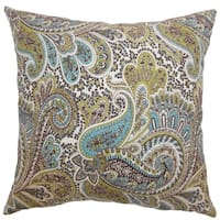 Dorcas Paisley Chocolate Feather Filled Throw Pillow