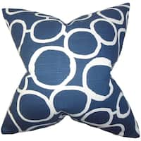 Franca Geometric Blue Feather Filled 18-inch Throw Pillow