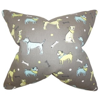 Busby Animal Print Gray Feather Filled Throw Pillow