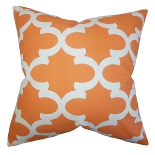 Titian Geometric Orange Feather Filled Throw Pillow