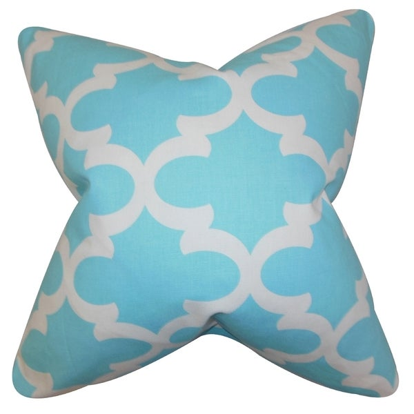 Titian Geometric Sky Blue Feather Filled Throw Pillow