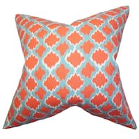 Welcome Geometric Orange Feather Filled Throw Pillow