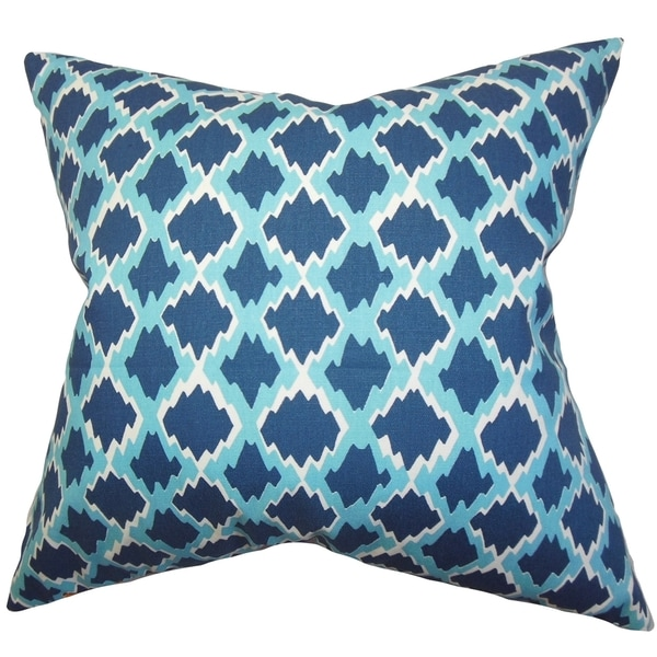 Domain Feather Filled Decorative Pillow : Welcome Geometric Blue Feather Filled 18-inch Throw Pillow - Free Shipping Today - Overstock.com ...