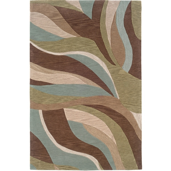 LR Home Fashion Blue/ Brown Abstract Area Rug - 7'9 x 9'9
