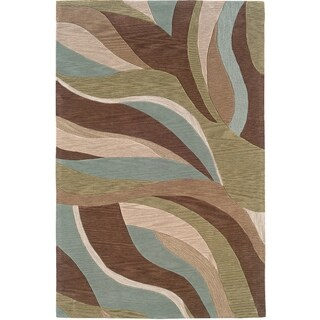 LNR Home Fashion Blue/ Brown Abstract Area Rug (7'9 x 9'9)