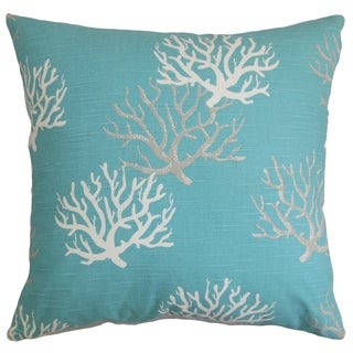 Hafwen Coastal Blue Feather Filled 18-inch Throw Pillow