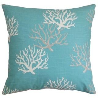 hafwen coastal blue feather filled 18inch throw pillow