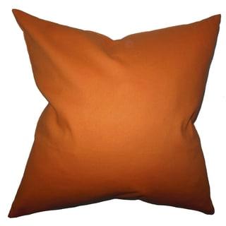 Kalindi Solid Orange Feather Filled Throw Pillow