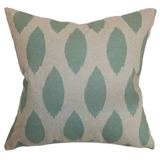 Juliaca Ikat Eaton Blue Linen Feather Filled 18-inch Throw Pillow