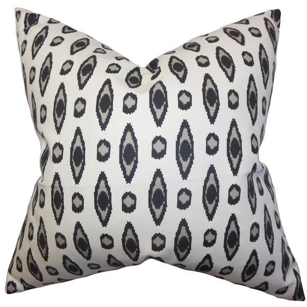 Vanelle Geometric Black Feather Filled Throw Pillow