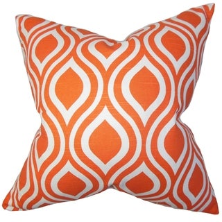 Larch Geometric Orange Feather Filled Throw Pillow