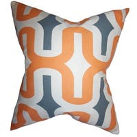 Jaslene Geometric Orange Feather Filled 18-inch Reversible Throw Pillow