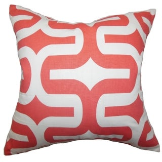 Jaslene Geometric Pink Feather Filled 18-inch Reversible Throw Pillow