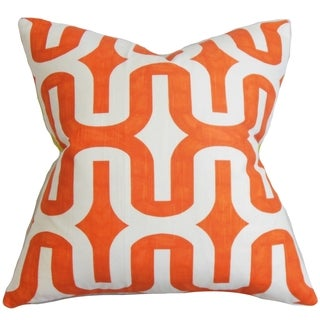 Jaslene Geometric Orange Feather Filled Throw Pillow