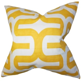 Jaslene Geometric Yellow Feather Filled Throw Pillow
