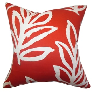Razili Floral Red Feather Filled 18-inch Throw Pillow
