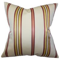 Hatsy Stripes White Pink Feather Filled Throw Pillow