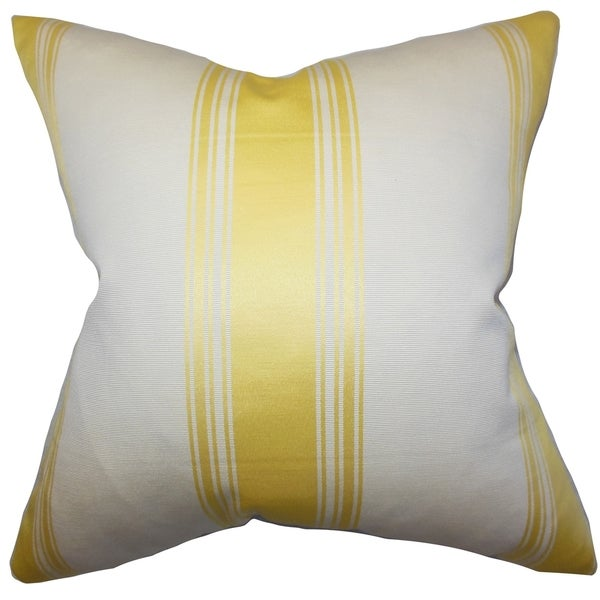 Jaleesa Stripes Yellow White Feather Filled Throw Pillow