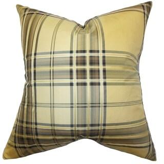 Fiorella Plaid Gold Feather Filled Throw Pillow