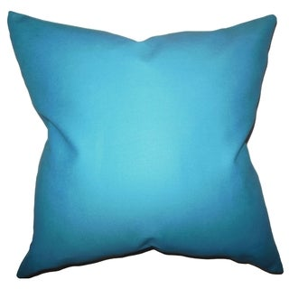Kalindi Solid Aqua Blue Feather Filled Throw Pillow