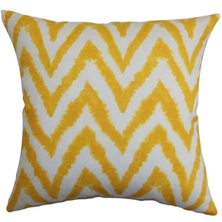 Kingspear Zigzag Corn Yellow Feather Filled Throw Pillow