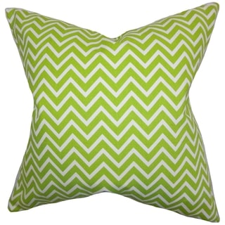 Sula Zigzag Chartreuse Feather Filled 18-inch Throw Pillow